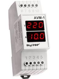Переключатель фаз DIGITOP PS-63A (max 80 A) АМПЕРМЕТР-ВОЛЬТМЕТР DIGITOP AVM-1 (1 А - 63А, ~40 B - ~400 B)