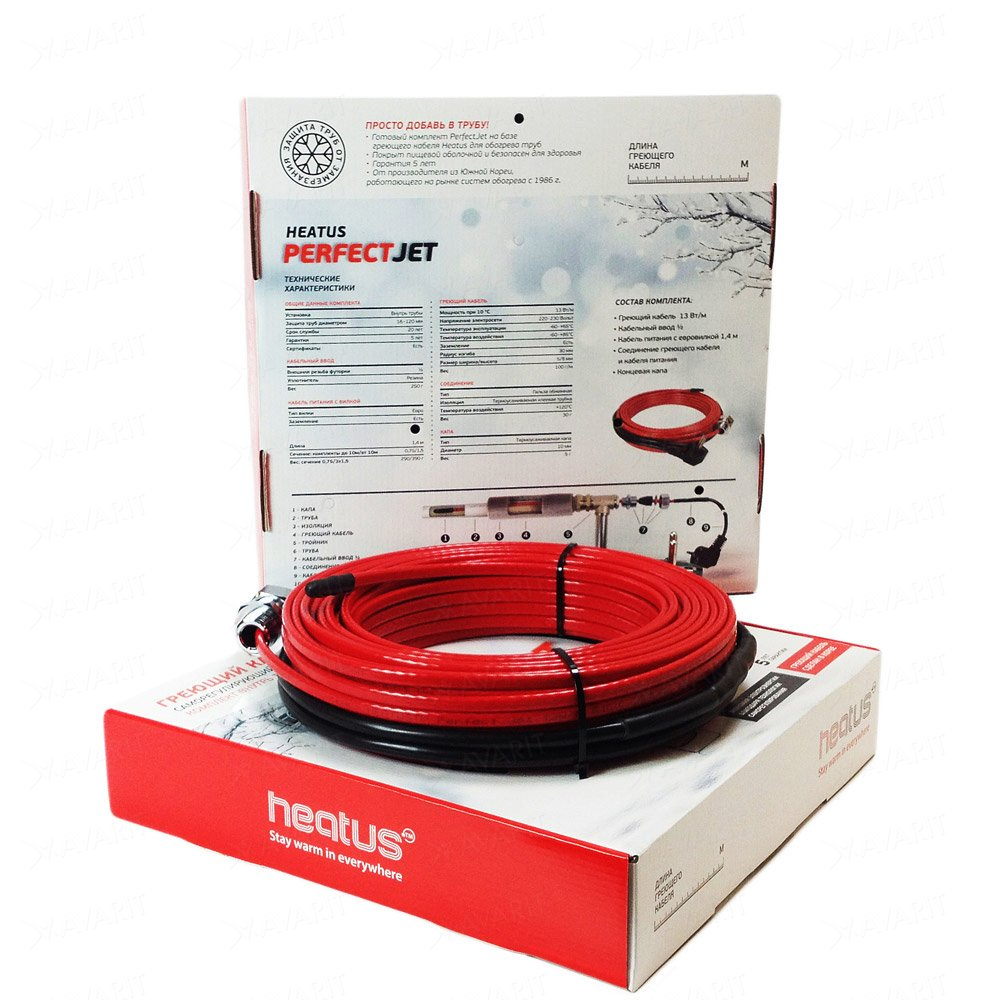 Саморегулирующий греющий кабель Heatus PerfectJet (143 Вт / 11 м)