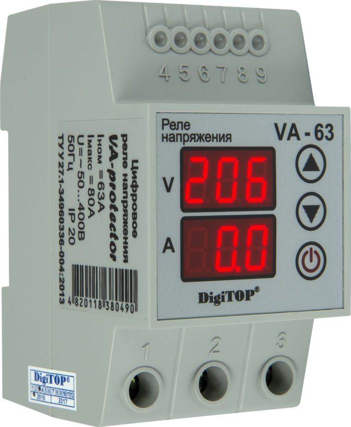 Реле напряжения DIGITOP VA-63 (max 80 A, 13900 BA)