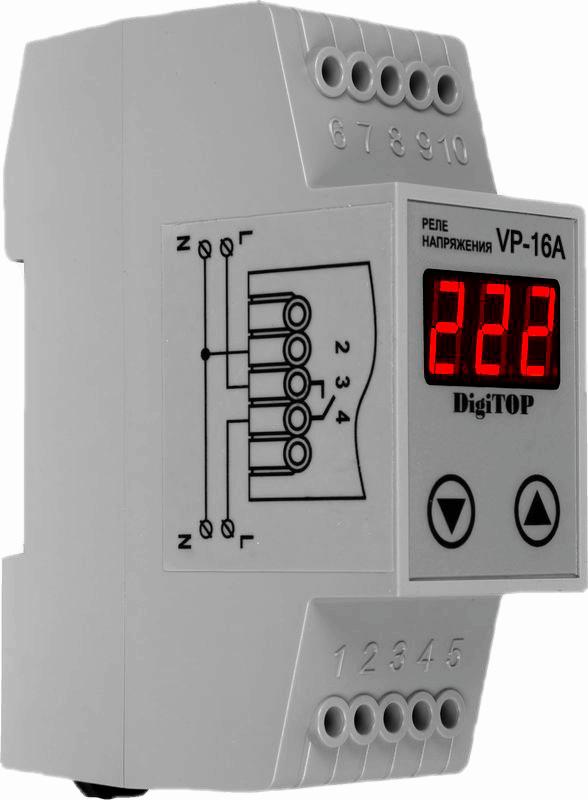 Реле напряжения DIGITOP VP-16A (max 16 A, 2860 BA)