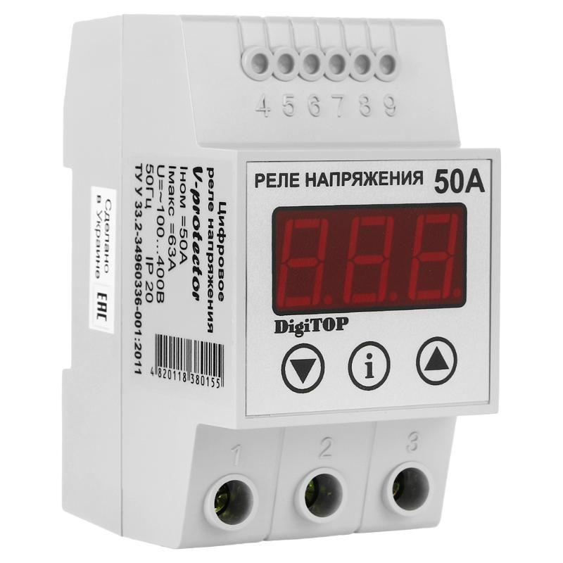 Реле напряжения DIGITOP Vp-50A (max 60 A, 11000 BA)