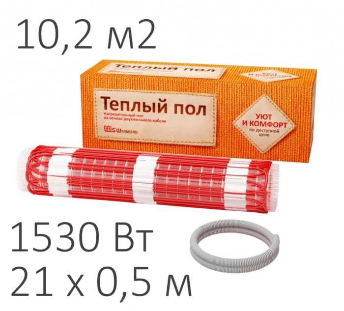 Теплый пол - нагревательный мат WARMSTAD WSM (1530 Вт, 10,2 м2)