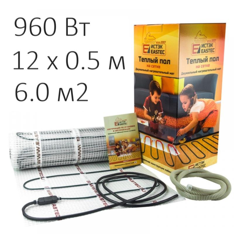 Теплый пол - нагревательный мат Eastec ECM-6,0 (60 м, 960 Вт)